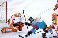 Press Eye - Belfast -  Northern Ireland - 05th January 2018 - Photo by William Cherry/Presseye. Belfast Giants Ryan Martinelli with Sheffield Steelers Ervins Mustukovs during Friday nights Elite Ice Hockey League game at the SSE Arena, Belfast