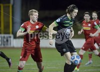 9thFebruary 2021. Danske Bank Irish league,Solitude,Belfast. Cliftonville v Warrenpoint Town .. Cliftonvilles. Chris Curran in action with Warrenpoints .  Adam Evans. Mandatory Credit   Inpho/Stephen Hamilton
