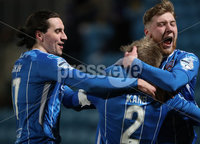 Danske Bank Premiership, Showgrounds, Ballymena.. 16/2/2021. Ballymena United  FC vs Coleraine FC . Coleraine  Lydon Kane is mobbed by team mates Jamie Glackin and Evan Tweed after scoring the winning goal against Ballymena United  during Tuesday night\'s Danske Bank Premiership match at Ballymena Showgrounds.. Mandatory Credit  INPHO/Brian Little