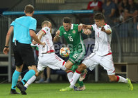 Press Eye - Belfast -  Northern Ireland - 11th June 2019 - Photo by William Cherry/Presseye. Belarus\' Ivan Maevski and Aleksandr Martynovich with Northern Ireland\'s Conor Washington during Tuesday nights UEFA EURO 2020 Qualifier at the Borisov Arena, Belarus.      Photo by William Cherry/Presseye