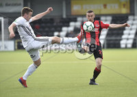 11th July 2019. Europa league First round qualifying match between Crusaders and B36 Torshavn at Seaview Belfast.. Crusaders Paul Heatley  in action with Torshavns Arni Frederiksberg. Mandatory Credit / Stephen Hamilton/Inpho