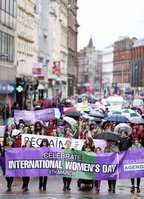 Press Eye - Belfast - Northern Ireland - 10th March 2018 . International Womens Day march in Belfast . the annual rally makes its way through the city to the city hall.. Mandatory Credit ©Matt Mackey / Presseye.com