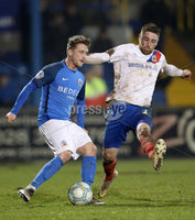 Danske Bank Premiership, Mourneview Park, Co. Armagh 3/4/2018 . Glenavon vs Linfield. Mandatory Credit ©INPHO/William Cherry. Glenavon\'s Marc Griffin with Linfield\'s Mark Stafford