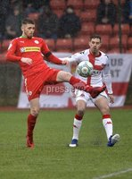 Danske Bank Premiership, Solitude Belfast, Co Antrim 10/03/2018. Cliftonville  vs Crusaders . Cliftonville\'s Rory Donnelly in action with Crusaders Sean Ward. Mandatory Credit ©INPHO/Stephen Hamilton.
