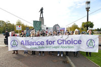 Presseye.com. 21/10/2019. Pro choice campaigners backed by Amnesty International pictured at Stormont ahead of todays ruling that will decriminalise abortion in Northern Ireland.. Mandatory Credit Stephen Hamilton /Presseye