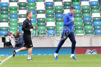 Press Eye - Belfast - Northern Ireland - 8th  September 2019. Northern Ireland train at the National Stadium ahead of their UEFA Euro Qualifier against Germany.. Picture by Declan Roughan/PressEye. (L-R) Paul Walsh (coach) and Kyle Lafferty