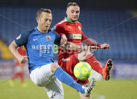 Danske Bank Premiership, Mourneview Park, Lurgan, Co. Armagh 13/1/2018. Glenavon vs Cliftonville. Glenavon\'s Sammy Clingan with Jude Winchester of Cliftonville. Mandatory Credit ©INPHO/Declan Roughan