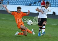 PressEye-Northern Ireland- 2nd August 2019-Picture by Brian Little/PressEye. Newcastle United  Lucas Gamblin    and Valencia Julio Insa    in the STATSports SuperCupNI Premier  Final , at Ballymena  Showgrounds .. Picture by Brian Little/PressEye .