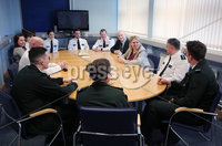 Press Eye - Belfast - Northern Ireland - 4th March 2018 -  . Visiting Londonderry on Monday 5 March 2018, Secretary of State for Northern Ireland Karen Bradley MP met with Area Commander Gordon McCalmont at PSNI Strand Road Station to discuss the challenges local officers face while keeping people safe.. She is pictured chatting to community police officers.. Photo by Kelvin Boyes / Press Eye..