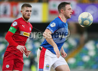 Danske Bank Premiership at Windsor Park, Belfast.  07.12.2019. Linfield FC Vs Cliftonville FC. Linfields Jamie Mulgrew with Cliftonvilles Ruaidhri Donnelly.. Mandatory Credit INPHO/Jonathan Porter