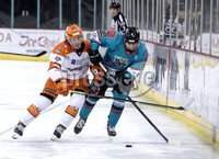 Press Eye - Belfast, Northern Ireland - 06th December 2019 - Photo by William Cherry/Presseye. Belfast Giants\' Lewis Hook with Sheffield Steelers\' Cole Shudra during Friday nights Elite Ice Hockey League game at the SSE Arena, Belfast.       Photo by William Cherry/Presseye