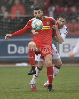 Danske Bank Premiership, Solitude Belfast, Co Antrim 10/03/2018. Cliftonville  vs Crusaders . Cliftonville\'s Joe Gormley  in action with Crusaders Howard Beverland . Mandatory Credit ©INPHO/Stephen Hamilton.