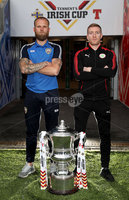 Press Eye - Belfast -  Northern Ireland - 27th April 2018 - Photo by William Cherry/Presseye. Coleraine\'s Gareth McConaghie and Cliftonville \'s Captain Chris Curran pictured during Wednesday nights Tennents Irish Cup Press Conference at the National Stadium, Belfast.