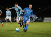 Danske Bank Premiership, Showgrounds, Ballymena.. 16/2/2021. Ballymena United  FC vs Coleraine FC . Ballymena United Paul McElroy     and Coleraine Aaron Canning  during Tuesday night\'s Danske Bank Premiership match at Ballymena Showgrounds.. Mandatory Credit  INPHO/Brian Little