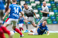 Danske Bank Premiership, Windsor Park, Belfast 10/8/2019. Linfield vs Institute. Linfield\'s Danny Kearns with Institute\'s Brandan McLaughlin . Mandatory Credit INPHO/John McVitty
