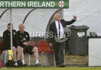 Press Eye - Belfast - Northern Ireland - 8th June. World Cup qualifier - Northern Ireland  v Netherlands at Shamrock Park Portadown.. Northern Ireland manager Alfie Wylie . Mandatory Credit: Presseye/Stephen Hamilton