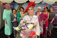 Press Eye - Belfast - Northern Ireland - 11th August 2019 - Downpatrick Racecourse Style Sunday race meeting. . Winner of the Ladies Upstyle Hair Competition (Centre Red Hat) Grainne Carr - winning a Trip To Costa Blanca - with the other finalists in the competition and Pamela Balantine..