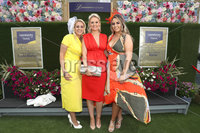 Press Eye - Belfast - Northern Ireland - 11th August 2019 - (L-R) Adele O Connor, Danielle Heaney and Nicole Mageean pictured at the Downpatrick Racecourse Style Sunday race meeting. . Photograph by Declan Roughan / Press Eye
