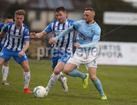 Danske Bank Premiership, Showgrounds, Ballymena . 7/3/2020. Ballymena United FC v Coleraine FC. Ballymena United\'s   Jude Winchester  and  Stephen Lowry  of Coleraine.. Mandatory Credit  INPHO/Brian Little