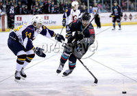 Press Eye - Belfast, Northern Ireland - 04th October 2019 - Photo by William Cherry/Presseye. Belfast Giants\' Ben Lake with Guildford Flames\' Jesse Craige during Friday nights EIHL game at the SSE Arena, Belfast.   Photo by William Cherry/Presseye
