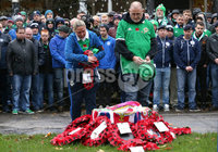 Press Eye - Belfast -  Northern Ireland - 12th November 2017 - Photo by William Cherry/Presseye. Northern Ireland supporters hold their Act of Remembrance service at Christoph Merian-Park, Basel, ahead of Sundays World Cup Play Off against Switzerland.
