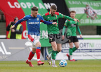 Danske Bank Premiership, The Oval, Belfast, Northern Ireland. 1/5/2021. Glentoran vs Linfield FC . Glentoran Ruaidhi Donnelly   and Linfield Niall Quinn  . Mandatory Credit INPHO/Presseye/Brian Little