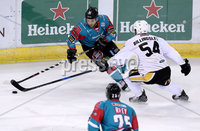 Press Eye - Belfast -  Northern Ireland - 12th January 2018 - Photo by William Cherry/Presseye. Belfast Giants David Rutherford with Nottingham Panthers Tim Billingsley during Friday nights Elite Ice Hockey League game at the SSE Arena, Belfast.