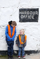 Press Eye - Northern Ireland - 18th April 2017 - Photographer - © Matt Mackey / Presseye.com. (L-R). Charlie Wilson and Carson Bradshaw enjoy their day out in Donaghadee.. The Junior Orange Association of Ireland hold its annual Easter Tuesday demonstration in Donaghadee. . The main parade, organised by Belfast Junior County Lodge, left the Harbour Road car park and proceed through the town centre to Crommelin Park playing fields. .  . Senior officers and juniors representing three Belfast Districts, Donaghadee, and a number of other lodges from across Northern Ireland - accompanied by eight bands participated.
