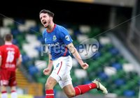 Danske Bank Premiership, Windsor Park, Belfast 9/2/2019. Linfield vs Coleraine. Linfield\'s Joshua Robinson celebrates scoring. Mandatory Credit INPHO/Matt Mackey