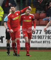 Danske Bank Premiership, Solitude Belfast, Co Antrim 10/03/2018. Cliftonville  vs Crusaders . Cliftonville\'s Rory Donnelly celebrates after scoring to make it 2-0. Mandatory Credit ©INPHO/Stephen Hamilton.