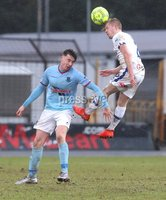 Danske Bank Premiership, The Showgrounds, Ballymena, Co. Antrim 10/3/2018. Ballymena United vs Coleraine. Ballymena United\'s Matthew Shevlin in action with Lyndon Kane of Coleraine. Mandatory Credit ©INPHO/Declan Roughan