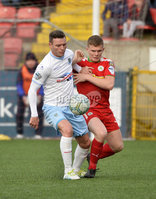 9th May 2018. Europa league play off semi final match between Cliftonville and Ballymena United at Solitude in Belfast.. Cliftonvilles Levi Ives  in action with Ballymena\'s Kevin Braniff. Mandatory Credit ©Inpho/Stephen Hamilton