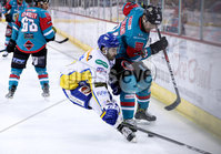 Press Eye - Belfast -  Northern Ireland - 09th February 2018 - Photo by William Cherry/Presseye. Belfast Giants Jonathan Ferland with Fife Flyers Ian Young during Friday nights Elite Ice Hockey League game at the SSE Arena, Belfast.