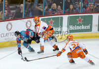 5 January 18, Mandatory Credit ©Press Eye/Darren Kidd.  . Belfast Giants Sebastien Sylvestre with Sheffield Steelers Jonathan Phillips and Tim Wallace during Friday nights nights Elite League game at the SSE Arena, Belfast.