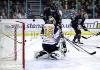 Press Eye - Belfast, Northern Ireland - 04th October 2019 - Photo by William Cherry/Presseye. Belfast Giants\' Jordan Smotherman with Guildford Flames\' Travis Fullerton during Friday nights EIHL game at the SSE Arena, Belfast.   Photo by William Cherry/Presseye