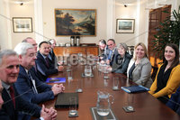 Press Eye - Belfast - Northern Ireland - 12th February 2018 - . Northern Ireland Talks at Stormont House, Belfast . Secretary of State for Northern Ireland Karen Bradley pictured meeting with the Prime Minister Theresa May and Irish Taoiseach Leo Varadkar inside Stormont House.. Photo by Kelvin Boyes / Press Eye..