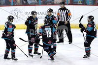 Press Eye - Belfast -  Northern Ireland - 06th January 2018 - Photo by William Cherry/Presseye. Belfast Giants Jonathan Ferland celebrates scoring against Sheffield Steelers during Saturday nights Elite Ice Hockey League game at the SSE Arena, Belfast