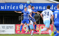 Danske Bank Premiership, Showgrounds, Ballymena 7/10/2017 . Dungannon vs Ballymena United. Dungannon\'s Douglas Wilson and Chris Hegarty with Ballymena\'s Kyle Owens. Mandatory Credit ©INPHO/Philip Magowan