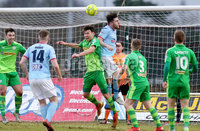 Bet McLean Cup Semi-Final, Showgrounds, Co. Antrim 10/2/2018. Ballymena United vs Cliftonville. Ballymena\'s Cathairl Friel and Cliftonville\'s Conor McDonald go to head the ball. Mandatory Credit ©INPHO/Jonathan Porter