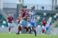 Press Eye-Belfast-Northern Ireland -27th July 2020. Sadlers\'s Peaky  Blinder Irish Cup Semi Final, National Stadium at Windsor Park, Belfast. . 27/7/2020. Ballymena United FC v Coleraine FC. Ballymena United\'s Cathair Friel    and Stephen O\'Donnell  of Coleraine.. Mandatory Credit  Brian Little/PressEye