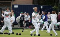 Northern Ireland- 19th June 2012 Mandatory Credit - Photo-Jonathan Porter/Presseye. Bowls Ladies Home International Series at Ward Park in Bangor, Co. Down.  Left to right.  Ireland\'s Cliodhna Eadie, Barbara Cameron and Sandra Bailie celebrate.