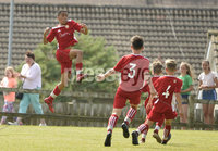 26th  July 2018. SuperCupNI 2018 Minor  section semi final between Greenisland and Portadown at Seahaven Portstewart.. Portadowns Ethan De Sousa celebrates after scoring to put his side into a 1-0 lead..  Mandatory Credit: Stephen Hamilton /Presseye