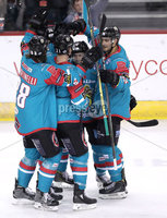 Press Eye - Belfast -  Northern Ireland - 05th January 2018 - Photo by William Cherry/Presseye. Belfast Giants Steve Saviano celebrates scoring against Sheffield Steelers during Friday nights Elite Ice Hockey League game at the SSE Arena, Belfast