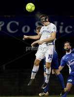 Danske Bank Premiership, Stangmore Park, Dungannon, Co. Tyrone 13/1/2018. Dungannon Swifts vs Coleraine. Dungannon\'s David Armstrong with Bradley Lyons of Coleraine. Mandatory Credit ©INPHO/Matt Mackey