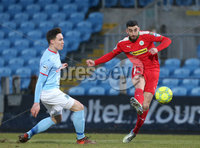 Danske Bank Premiership, Ballymena United vs Cliftonville, The Ballymena Showgrounds, Co. Antrim . 3/4/2018 . Ballymena United\'s Kofi. Balmer in action with Cliftonville\'s Joe. Gormley. Mandatory Credit ©INPHO/Matt Mackey