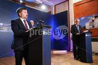 Press Eye - Belfast - Northern Ireland - 13th January 2021. Health Minister Robin Swann, Chief Scientific Advisor Professor and Chief Medical Officer Dr Michael McBride address the media during a press conference at Parliament Buildings, Stormont.. Picture by Kelvin Boyes / Press Eye.
