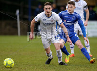 Danske Bank Premiership, Stangmore Park, Dungannon, Co. Tyrone 13/1/2018. Dungannon Swifts vs Coleraine. Dungannon\'s Paul McElroy with Stephen O\'Donnell of Coleraine. Mandatory Credit ©INPHO/Matt Mackey