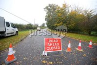 Press Eye - Belfast - Northern Ireland - 12th October 2018. Road closures in the Crumlin area of Co. Antrim after trees fell over night due to storm Callum. . Picture by Jonathan Porter/PressEye
