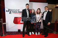 Press Eye - Belfast - Northern Ireland - 30th September 2018 - . Padraig O\'Luasa, Catherine Muir, Rebecca Muir and David Priestman pictured at Movie House Dublin Road for a special preview screening of upcoming comedy, JOHNNY ENGLISH STRIKES AGAIN, in cinemas across Northern Ireland from Friday 5th October.. Photo by Kelvin Boyes / Press Eye..