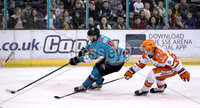 Press Eye - Belfast, Northern Ireland - 06th December 2019 - Photo by William Cherry/Presseye. Belfast Giants\' Lewis Hook with Sheffield Steelers\' Brendan Connolly during Friday nights Elite Ice Hockey League game at the SSE Arena, Belfast.       Photo by William Cherry/Presseye.